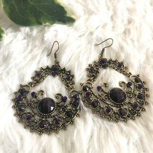 Jewelry - Purple Round Heart Bead Vintage Earrings